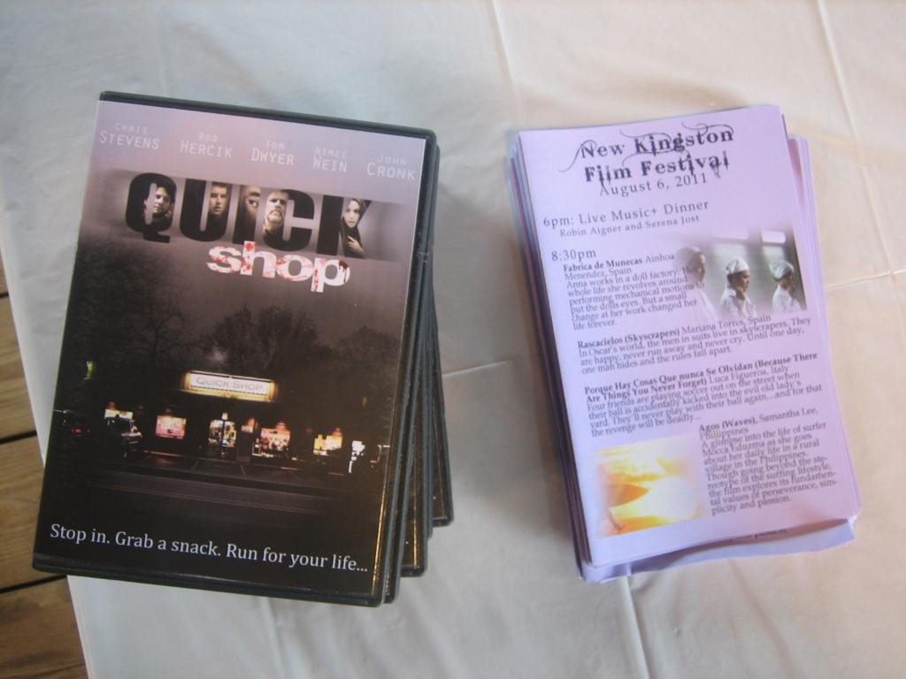 Copies of the Quick Shop DVD along with the festival programs